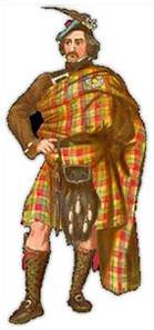 "This Victorian watercolour of a Chief of the Clan Buchanan shows ""the Toga Method"" – the upper part of the outer apron is pinned to the back part of the plaid at the shoulder, this balances the weight so that the whole mess stays put."