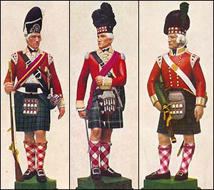 Sergeant, Grenadier Company 78th Highlanders, 1778 Officer, 73rd Highlanders, 1778 Piper, Light Company 91st Highlanders, 1801