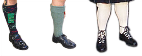 'Evening wear' buckled shoe with MacKenzie tartan hose, Scots Guards/ Seaforth-pattern garter knots and 78th Highlanders Sgean dubh.  'Day wear' British Army- pattern brogues worn with Lovat Green hose and red worsted garter knots.  Ghillie brogues are a popular choice for both 'Day' and 'Evening' wear.
